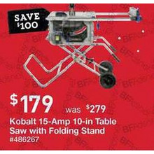 Kobalt 15-Amp 10-in Carbide-Tipped Table Saw