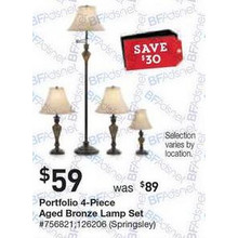 Portfolio Springsley 4-pc. Aged Bronze Lamp Set with Fabric Shades