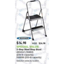 Werner 2-Step 225-lb. Load Capacity Gray Steel Step Stool