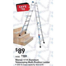 Werner 17-ft. Aluminum 300-lb. Telescoping Type IA Multi-Position Ladder