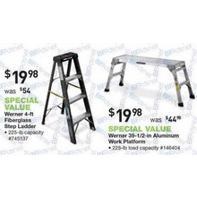 Werner 4-ft. Fiberglass 225-lb. Type II Step Ladder