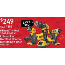 Dewalt 4-/Tool 20-Volt Max Lithium Ion Brushed Motor Cordless Combo Kit