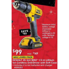 Dewalt 20-Volt Max Lithium Ion 1/2 in Cordless Drill w/ Battery and Soft Case