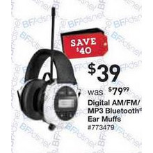 Digital Am/FM/MP3 Blutooth Ear Muffs
