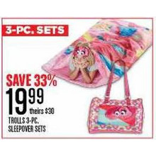 TROLLS 3-PC SLEEPOVER SETS - SAVE 33%
