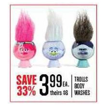 TROLLS BODY WASHES - SAVE 33%