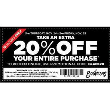 TAKE AN EXTRA20% OFF YOUR ENTIRE PURCHASE - TO REDEEM ONLINE , USE PROMOTIONAL CODE :BLACK20