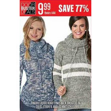 JUNIORS DEREK HEART COWL NECK SWEATERS IN MARLED KNIT STYLES - SAVE 77%