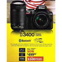 Nikon D3400 Double Lens Kit(24.2 Megapixels) - Kit includes AF-P DX NIKKOR 18-55 mm f/3.5-5.6G VR lens and the AF-P DX NIKKOR 70-300mm f/4.5-6.3G ED telephoto zoom lens