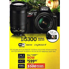 Nikon D5300(Megapixels) - Kit includes AF-P DX NIKKOR 18-55mm f/3.5-5.6G VR lens and the AF-P DX NIKKOR 70-300mm f/4.5-6.3G ED telephoto zoom lens