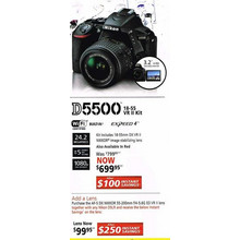 Nikon D5500(24.2 Megapixels) - Kit includes 18-55mm DX VR II NIKKOR image stabilizing lens, Also Available in Red