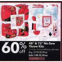 "48"" & 72"" No-Sew Throw Kits: Excludes licensed & team designs - 60% off"