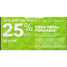 Joann Save In-store Only; 6 Hours Only: Your Total Purchase (Sat, Nov 26; 7am-1pm) - 25% off