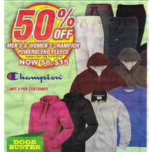 (Champion - Limit 4 Per Customer) Men's & Women's Champion Powerblend Fleece - 50% Off