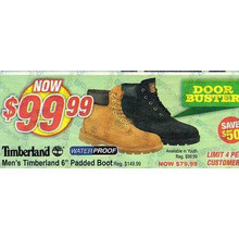 "(Timberland - Limt 4 Per Customer) Men's timberland 6"" Padded Boot (Available in youth) - Save $50"