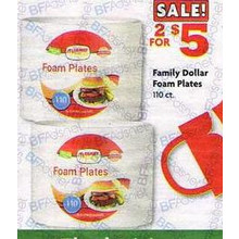 Family Dollar Foam Plates - 2 for $5