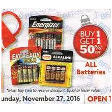 All batteries - Buy 1 get 1 50% off