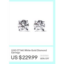 14K White Gold Diamond 0.50-cttw.Earrings