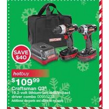 Craftsman c3 19.2 volt lithium- ion drill/impact driver combo - Save $40