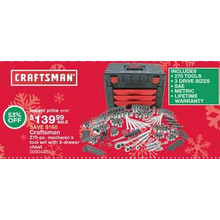 Craftsman 270-pc. mechanic's tool set with 3-drawer chest - 53% OFF