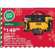 DeWalt 20-volt MAX cordless lithium-ion drill driver and impact driver kit - 25% OFF