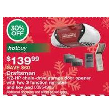 Craftsman 1/2-HP chain-drive garage door opener with two 3 function remotes and key pad - 30% OFF