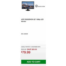 "AOC E2252SWDN 22"" 1080p LED Monitor - Save $20.00 Off"