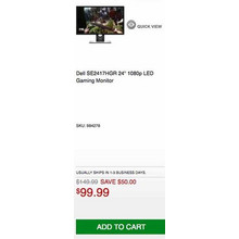"Dell SE2417HGR 24"" 1080p LED Gaming Monitor - Save $50.00 Off"