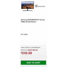 "Samsung C27F398FWN 27"" Curved 1080p HD LED Monitor - Save $30.00 Off"