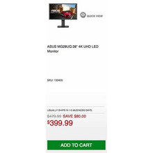 "Asus MG28UQ 28"" 4K UHD LED Monitor - Save $80.00 Off"