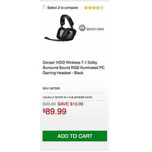 Corsair VOID Wireless 7.1 Dolby Surround Sound RGB Illuminated PC Gaming Headset - Black - Save $10.00 Off
