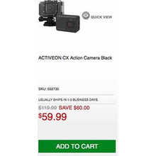 ACTIVEON CX Action Camera Black - Save $60.00 Off