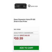 Epson Expression Home XP-430 Small-in-One Printer - Save $40.00 Off