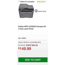 Brother MFC-L2700DW Compact All-in-One LASER Printer - Save $50.00 Off