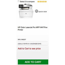 HP Color LaserJet Pro MFP M477fnw Printer (Add to Cart to see price)
