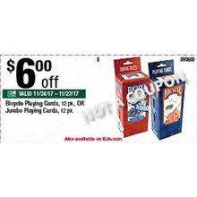 Bicycle Jumbo Playing Cards (12-pk.) $6.00 OFF