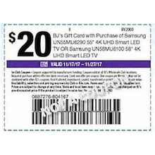 "Coupon BJ'S $20.00 Gift Card w/ Purchase Of Samsung 55"" 4K UHD Smart LED TV (UN58MU6100)"