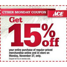 15% off Entire Purchase of Regular-Priced Merchandise