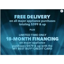 Free Delivery on All Major Appliance Purchases Totaling $399 & Up