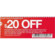 Coupon: $20 Off a Purchase of $50 or More (excludes doorbusters) $20 off