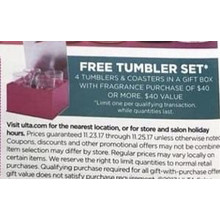 Free Free Tumbler Set with $40 or More Fragrance Purchase
