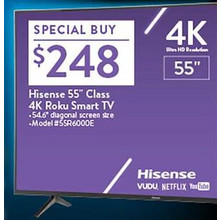 "Hisense 55"" 4K Ultra HD Roku Smart TV"