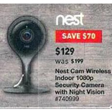 Nest Cam Wireless Indoor 1080p Security Camera w/ Night Vision