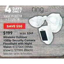Ring Wireless Outdoor 1080p Security Camera Floodlight w/ Night Vision