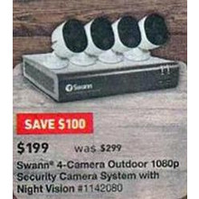 Swann 4-Camera Outdoor 1080p Security Camera System w/ Night Vision