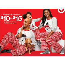 Matching Holiday Family Pajamas $10 to $15