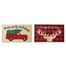 North Pole Trading Co. Home For The Holidays Red Truck Rectangular Indoor Doormat