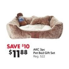AKC 3pc Pet Bed Gift Set