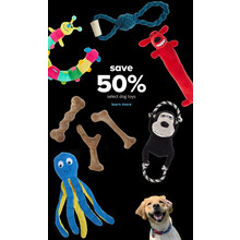 Save 50% Select Dog Toys