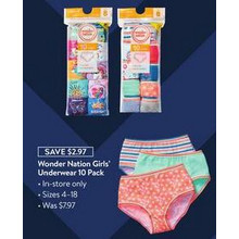 Wonder Nation Girls' Underwear 10-Pack (11/27 In-Store Only)